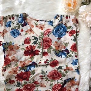 Tops - Roses Zipper Detail Short Sleeve Blouse